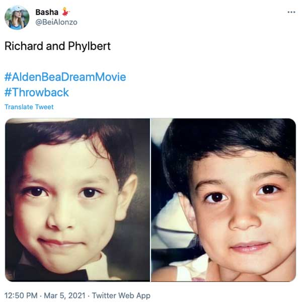 Twitter Post: Resemblance of young Alden richards, Bea Alonzo