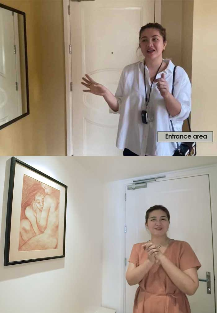 Youtube screengrab: Dimples Romana condo entrance area before and after