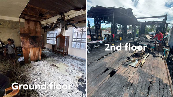 Paginado family's old house ground floor, 2nd floor after the fire
