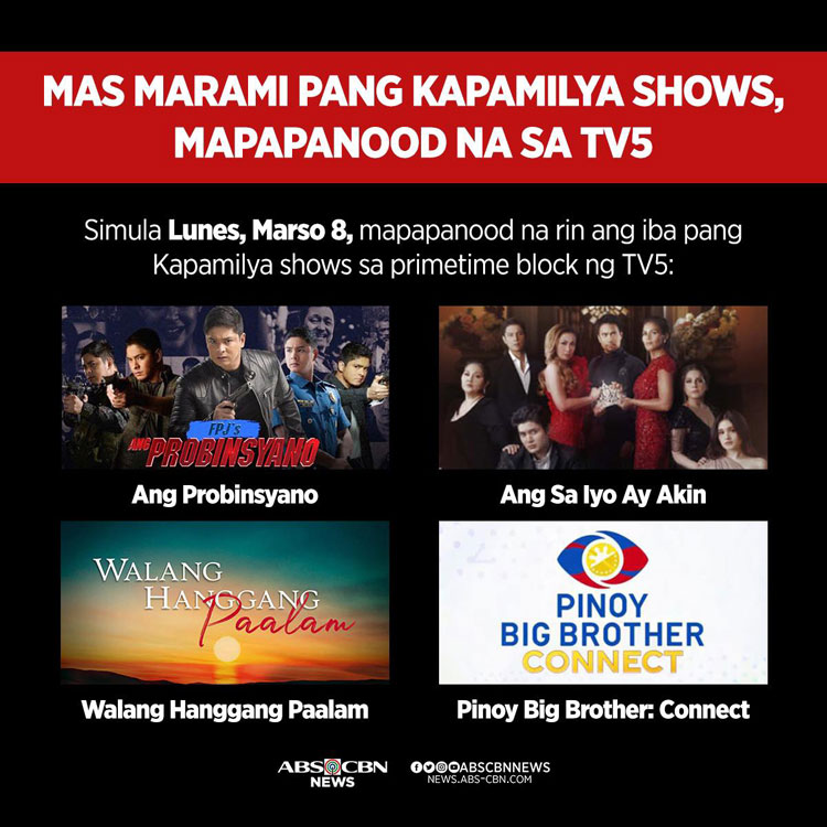 ABS-CBN Primetime shows on TV5
