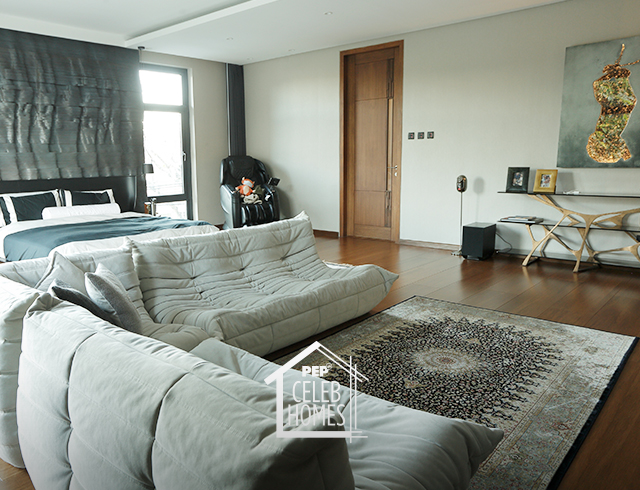Derek Ramsay designer sofa: pearl-colored, three-piece Togo Sofa by Ligne Roset