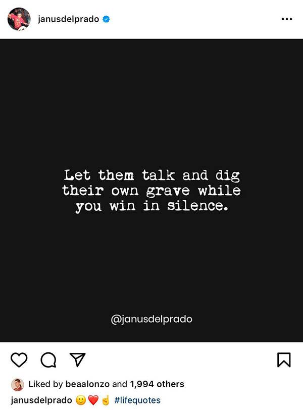 Instagram Post: Janus Del Prado shade against Gerald Anderson, bea alonzo likes the quote
