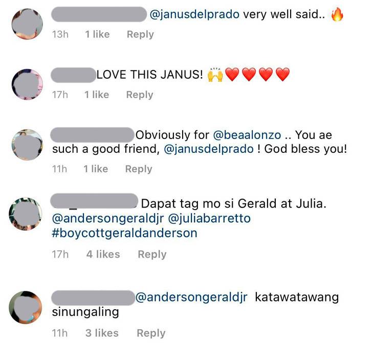 Instagram comment: netizens applaud Janus, condemn gerald-julia