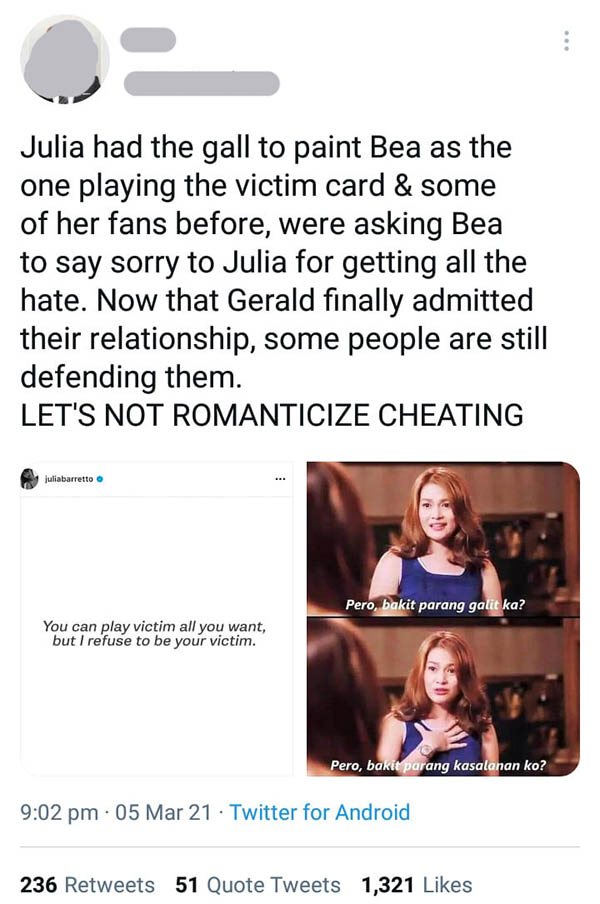 Twitter Post: Netizens urge julia-gerald supporters to stop romanticizing cheating