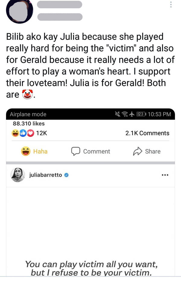 Twitter Post: Netizens sarcastically give support to julia-gerald relationship