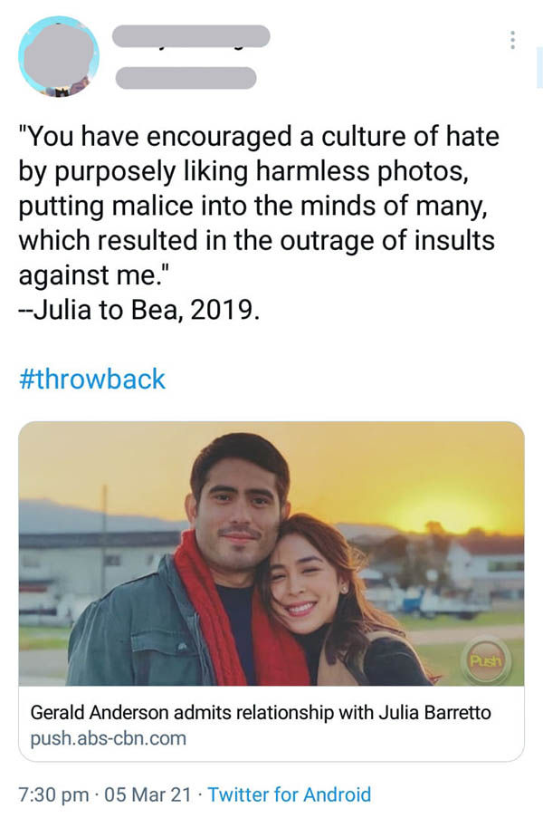 Twitter Post: Throwback post of Julia denying allegation along with julia-gerald relationship confirmation