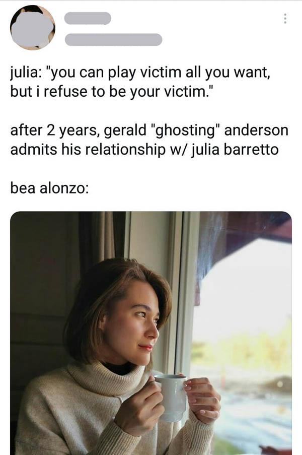 Twitter Post: netizens bring back julia's words against bea