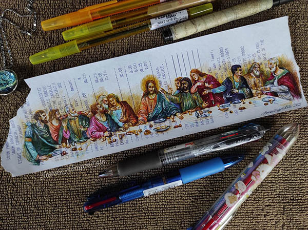 James Abayon Lolo ballpoint pen sketch: The Last Supper