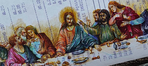 James Abayon Lolo ballpoint pen sketch: The Last Supper in receipt
