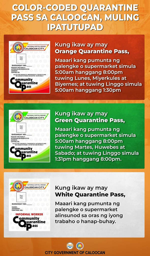 Caloocan City: Color-coded quarantine pass official announcement