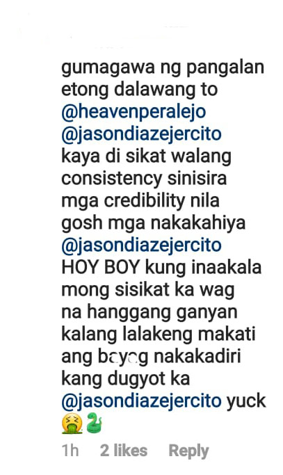 Instagram comment: netizen accuses heaven peralejo of being the third party