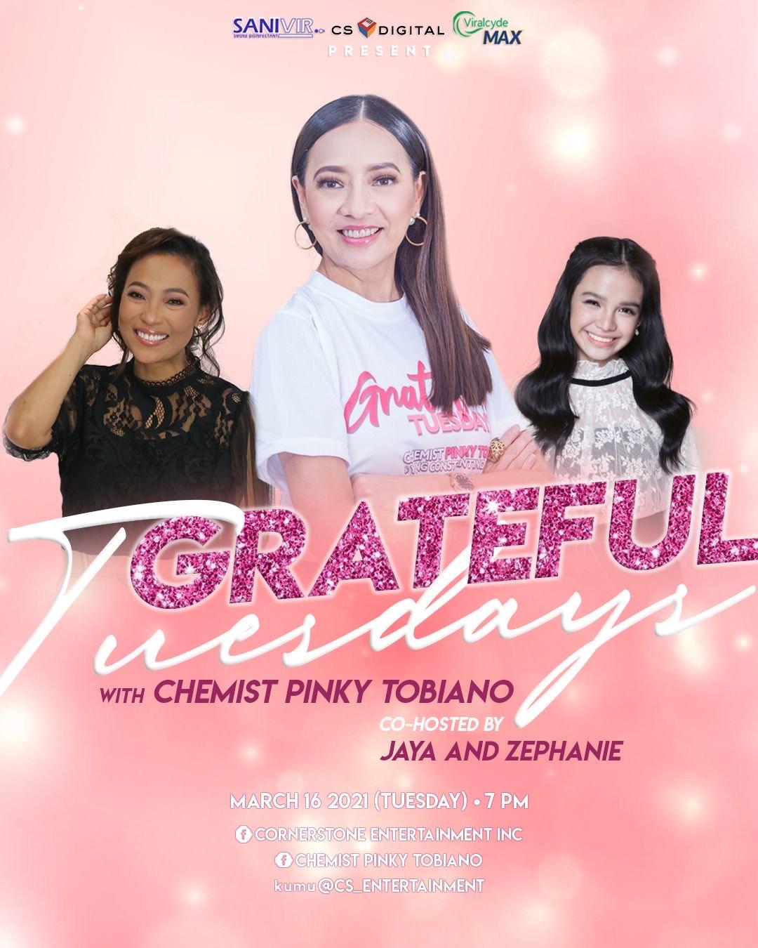 Pinky Tobiano, Jaya, Zephanie in online show Grateful Tuesdays