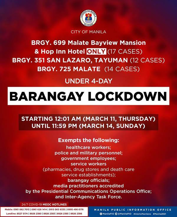 Manila: Barangay lockdown official announcement