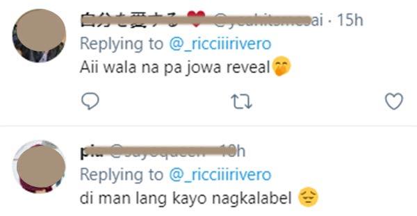 Twitter Replies: netizens jokes on ricci, heaven no-label relationship before