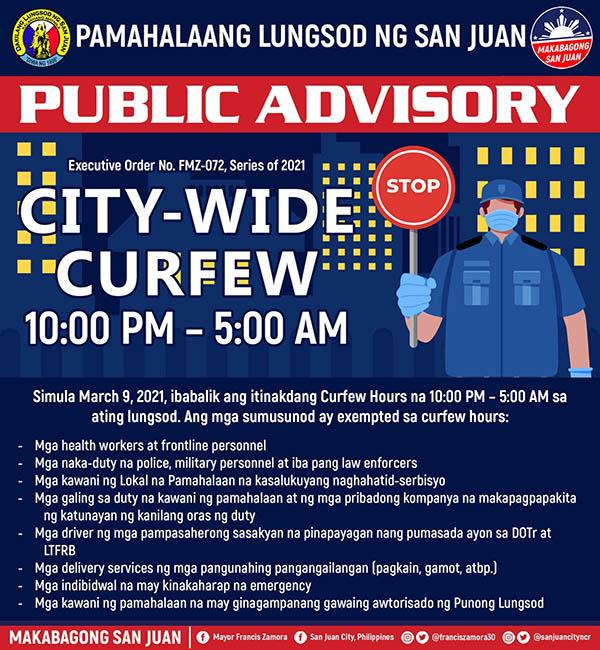 San Juan City: City-wide curfew official announcement