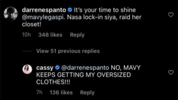 Instagram comment: Darren Espanto reacts to Cassy Legaspi post