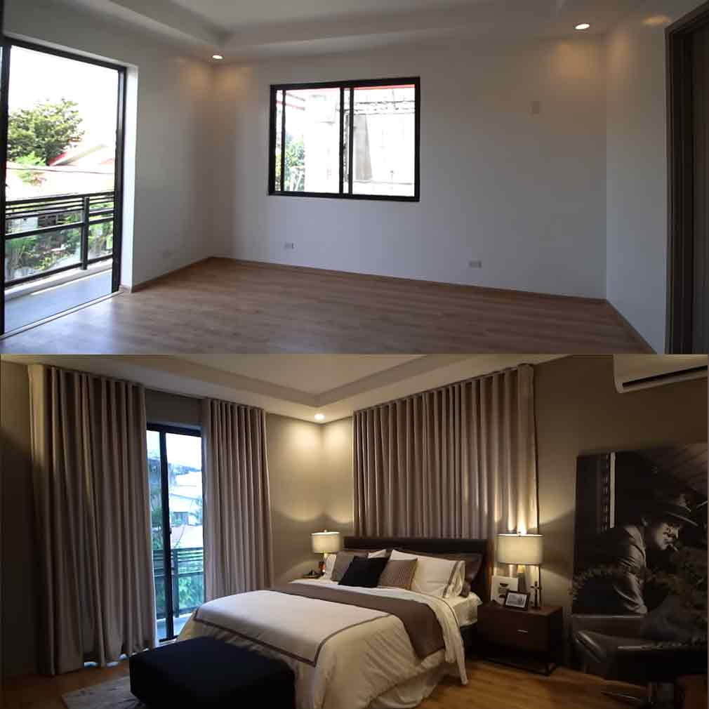 Rayver Cruz master bedroom before and after