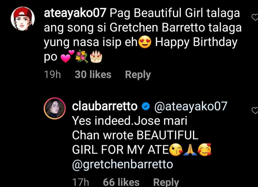 Instagram comment: Claudine Barretto says Gretchen is Jose Mari Chan inspiration for Beautiful Girl