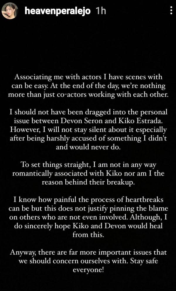 IG Story: Heaven Peralejo statement on Kiko Estrada, Devon Seron breakup