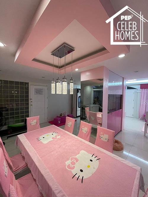 Ai Ai Delas Alas dining area with hello kitty table cloth