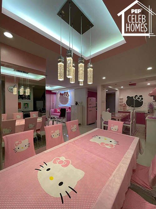 Ai Ai Delas Alas dining area with hello kitty seat covers