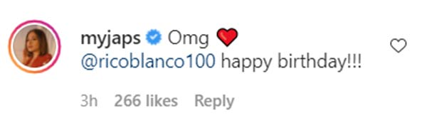 IG Comment: Julie Anne San Jose posts a heart and greets Rico a happy birthday