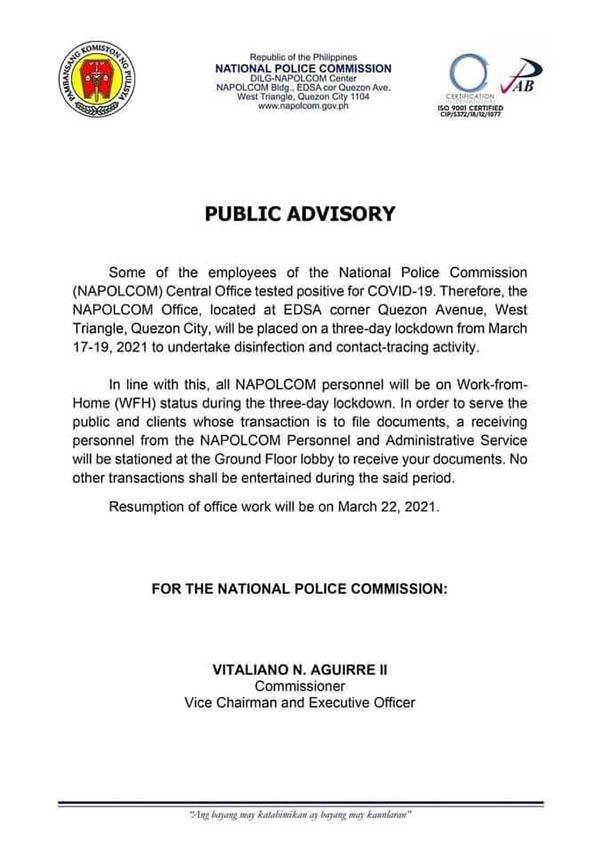 NAPOLCOM advisory