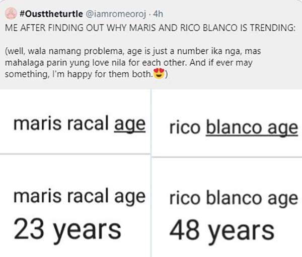 Twitter Post: Netizen says Maris and Rico age gap is okay