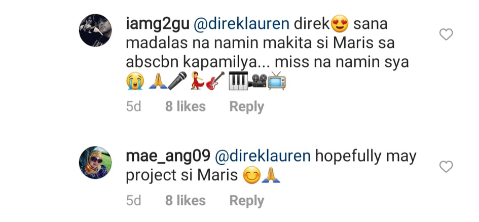 IG comment: fans hopeful to see more projects for maris