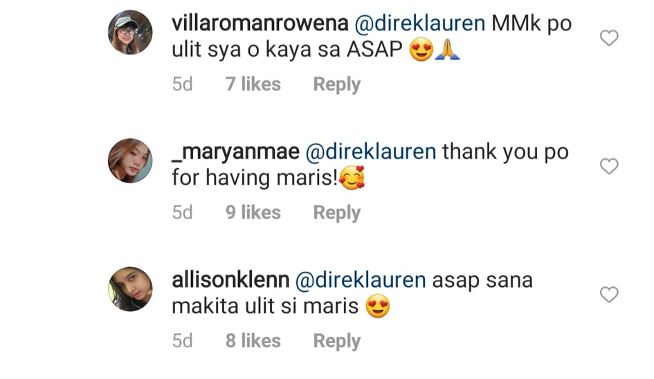 IG comment: fans wishes to see maris on ASAP