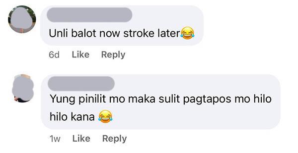 FB comment: netizens joke on having stroke after unli balot