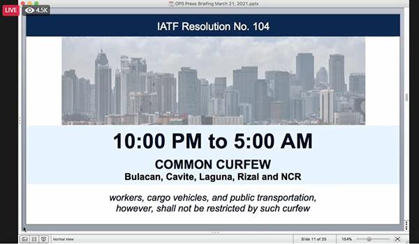 IATF: Bulacan, Cavite, Laguna, Rizal, NCR Curfew
