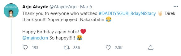 Arjo Atayde thanks Daddy's gurl viewers, greets gf maine mendoza
