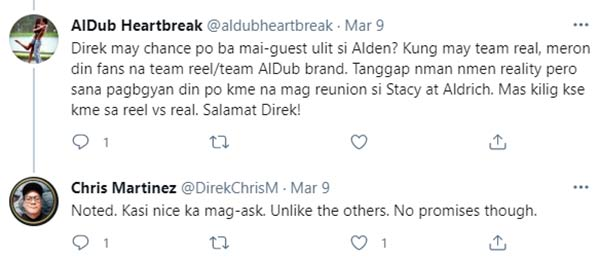 Aldub fan politely sks Chris for alden possible guesting on the show, Chris answers