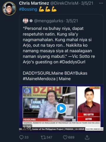 Chris Martinez posts Vic Sotto comment on Arjo-Maine guesting