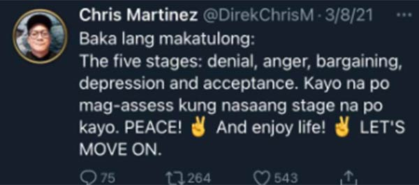 Daddy's Girl director Chris Martinez appeals to ADN fans for peace