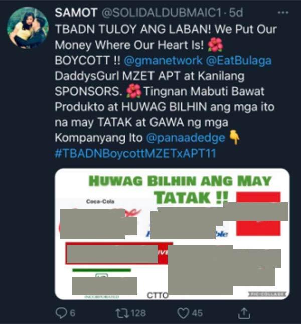 Aldub fan urges ADN to also boycott MZET, APT ad sponsors
