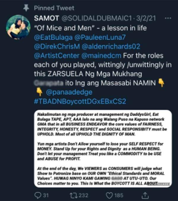 Aldub fan reposts the reason of boycott