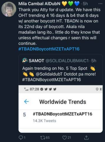 Aldub fan urges other ADN to continue tweeting about the boycott