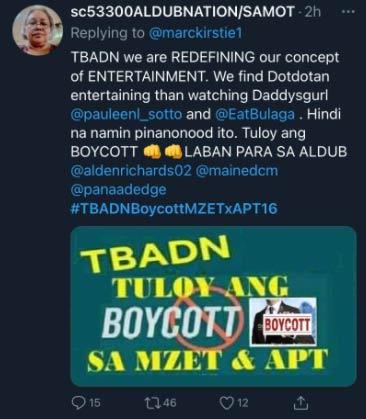 Aldub fan call to boycott MZET and APT