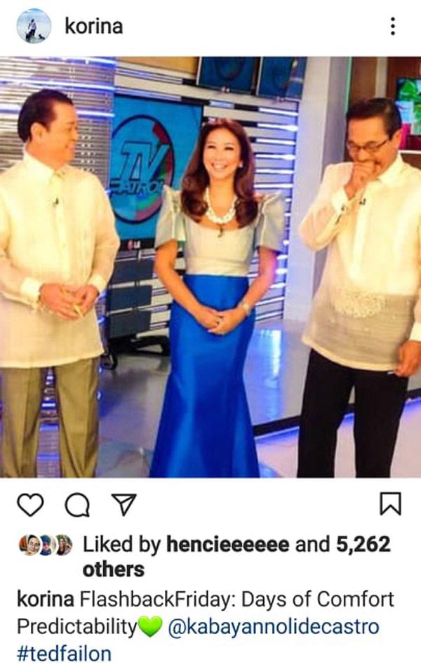 IG Photo: Korina Sanchez throwback photo with TV Patrol anchors Noli De Castro, Ted Failon