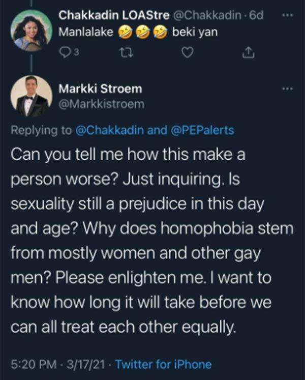 Twitter Comment: troll account questions Markki Stroem sexuality, Markki replies