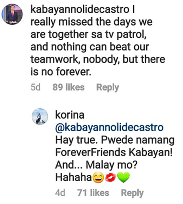 IG Comment: Noli De Castro says there is no forever