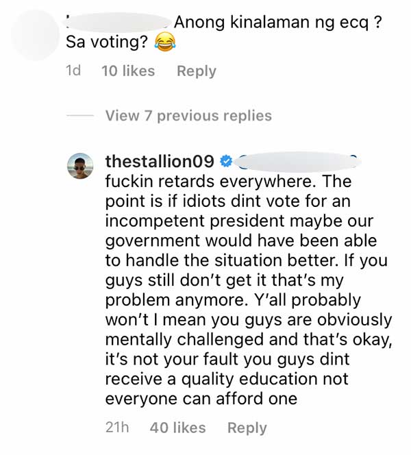 IG Comment: DDS questions Albie for involving ECQ to elections, Albie calls basher a retard