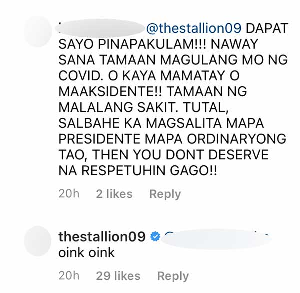 IG Comment: DDS tells Albie deserves to die, Albie taunts DDS basher by replying oink oink