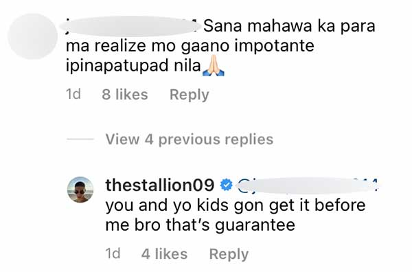 IG Comment: DDS wishes Albie to catch COVID-19, Albie Casino manifests the same wish to the basher