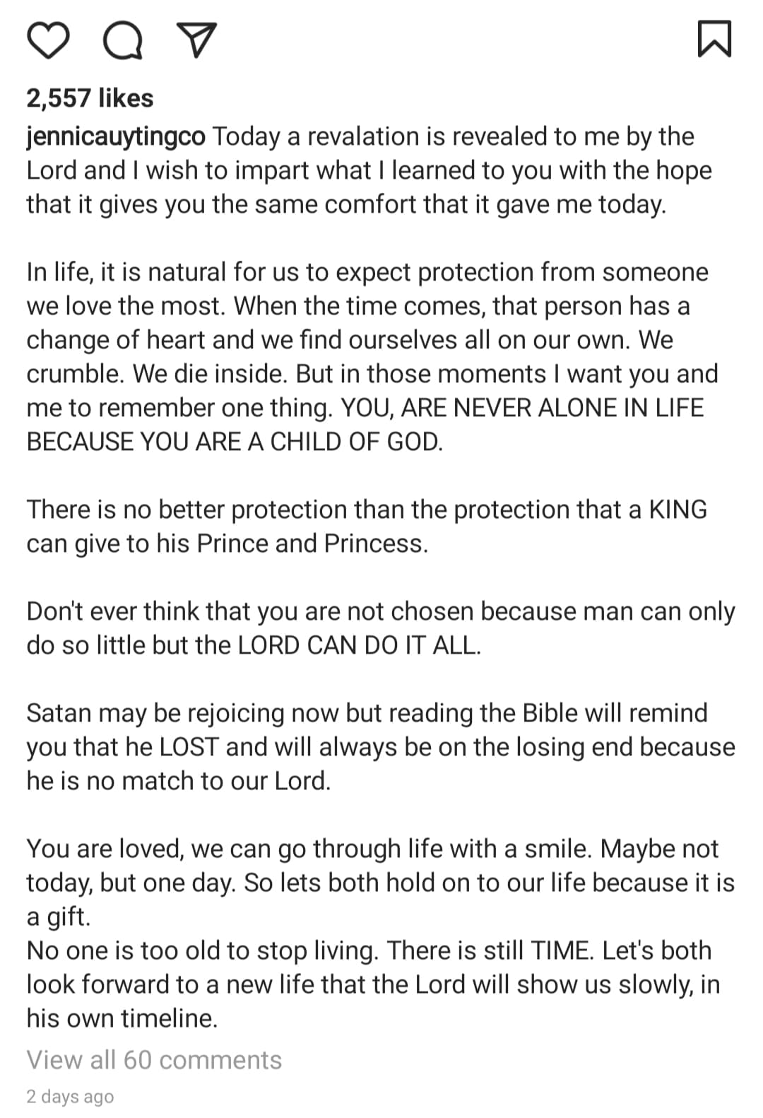 IG Caption: Jennica Garcia lengthy message about hope and time