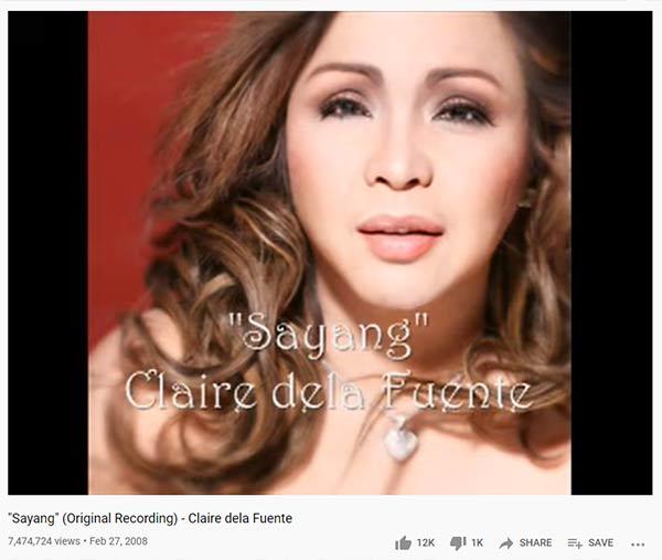 Claire Dela Fuente hit song Sayang