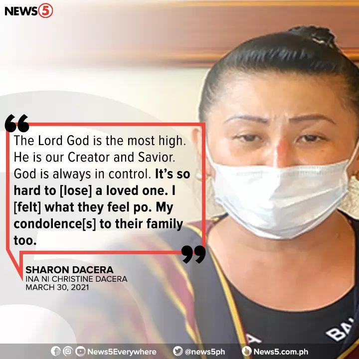 Sharon Dacera condolence message for Claire Dela Fuente family