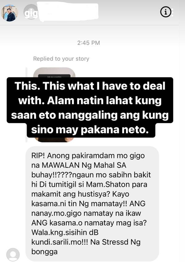 IG Story: Gigo De Guzman calls out netizen who sent hate message